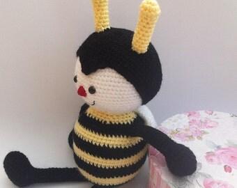 Amigurumi Bee, Crochet Animal, Crochet Bee, Crochet Toy, Plush Bee