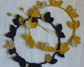 Large wreaths leaves hook mustard/gold or black/gold, decoration, mobile