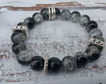 Black & Silver Glass Bead Bracelet
