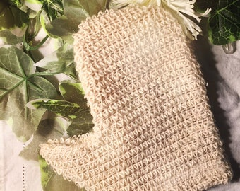 Agave sisal exfoliating glove, washcloth, exfoliating, detox, cleansing, skincare, natural, sustainable, gift for her, sisal, rope, sisal ro