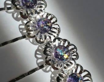 Sparkly purple set of 4 fused glass dichroic glass flower bobby pins in a shiny silver finish and standard length