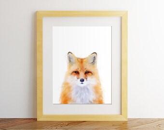 Fox print, Fox wall art, Nursery decor, Nursery wall art, Woodland nursery, Watercolor fox, Fox painting, Fox printable, Fox poster.