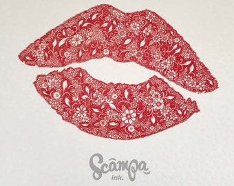 Original hand drawn, ink print illustration of a beautifully detailed red lipstick print. Framed