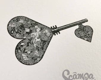 Original hand drawn, ink print illustration of a beautifully detailed Key to your Heart. Framed