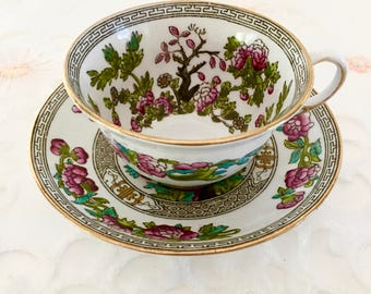 Vintage  Royal Stafford, English Bone China Tea Set, Teacup and Saucer, Indian Tree Pattern