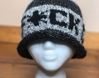 F*ck Cancer rolled-edge hand-knit beanie