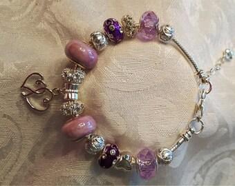 Handmade Lavender Love Charm Bracelet