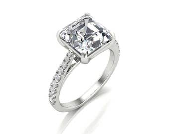 Asscher Cut Moissanite Diamond Engagement Ring - 2.25ct Forever One Moissanite Diamond Ring - Charles & Colvard 8mm Asscher Moissanite Ring
