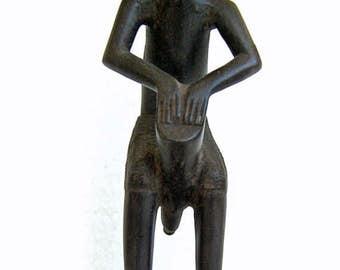 Old African Hand Carved Wooden Tribal Drummer Boy/Man Vintage Figure Wood Carving