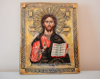 EXTREMELY RARE Christ Icon 1960s. Jesus Christ Icon. Handmade icon. Handcrafted Icon. Greek Orthodox Icon. Byzantine Icon. Ecclesiastic Icon
