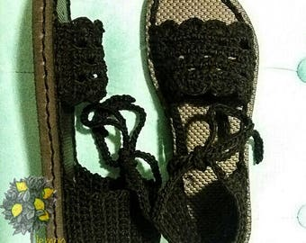 Women's Crochet / Summer Sandals / Flip Flop Soles / Cotton Scallop Edges / Tie Straps