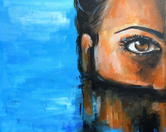 Acrylic Painting on Canvas - Swimming Woman Portrait, Contemporary Art, Underwater, Reflection