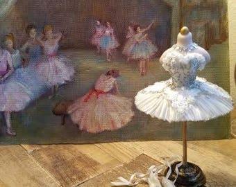 SOLD Miniature dollhouse white ballet tutu, dance costume, 1:12 scale