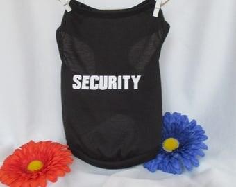 """Black """"Security"""" pet shirt, pet tank, dog tank, dog shirts, pet clothing, yorkie shirt, shih tzu shirt, maltese pet shirt, pet tops, summer"""