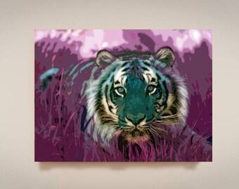 Tiger, Print or Canvas, Animal Safari Art Decor, African Safari Picture, Lion Tiger Wall Art, Purple, Colorful Wildlife Pop Art, Tiger Face