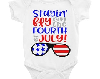 4th of July Shirt - 4th of July Onesie - Stayin fly on the 4th of July Summer Shirt Onesie - Red White and Blue Independence Day Shirt