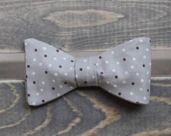 Grey Bow Tie - Polka Dot Bow Tie - Self Tie Bow Tie