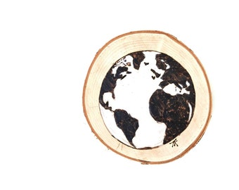 8'' Wood Burned World Plaque