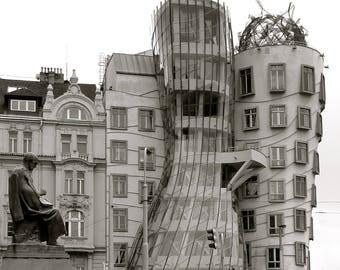 The Dancing House, Prague Black & White Mounted Print