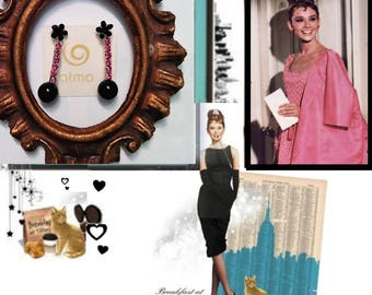 Pink and Black Rhinestone Vintage Earrings Audry Hepburn Inspired style Diva Collection by ATMA