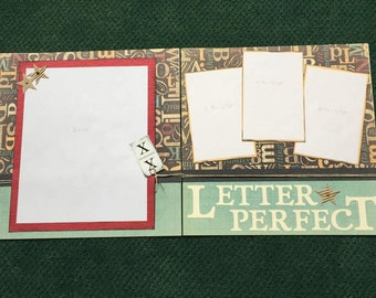 LETTER PERFECT Scrapbook Kit 12x12 double page spread, school, graduation, first day