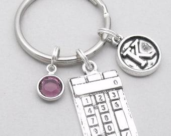 Calculator vintage initial keyring | calculator keychain | personalised calculator keyring | maths keychain | maths keyring | maths gift