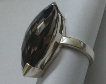 925 silver ring with smoky quartz gemstone