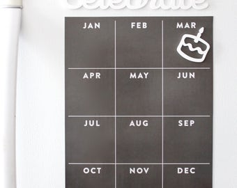 Yearly birthday calendar - Fridge calendar - magnetic memo board - yearly board - birthday board