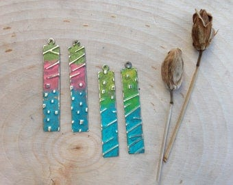 Embossed jewelry components- collection #6 - colorful sticks