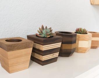 Handmade Wood Succulent Planters // Modern Succulent Pots // Geometric Wood Planters