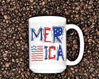 Merica Mug - America mug - Patriotic mug - American Flag - USA