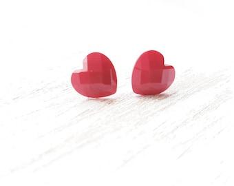Heart earrings. Heart jewellery. Red love heart jewellery. Heart accessories love hearts. Kitsch heart earrings. dainty earrings. Hearts