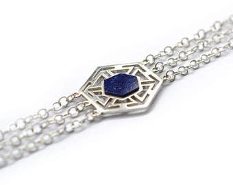 Lapis Bracelet, Lattice lapis bracelet, gold plated geometric bracelet, 925 Sterling Silver bracelet,  hexagon lapis bracelet