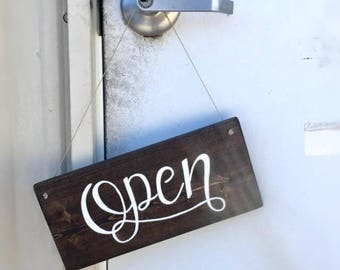 Open or Closed double sided signs, open sign, closed sign, hand painted wood sign, small business, business hours, double sided sign