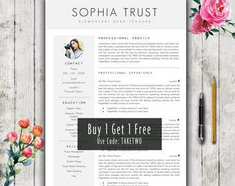 How To Do A Cover Page For A Resume Excel Teacher Resume  Etsy Example Of Skills On A Resume Word with Resume Skill Examples Excel Teacher Resume Template Cv Design  Modern Cv Template For Word  Cover  Letter  References Sample Teacher Resume Pdf