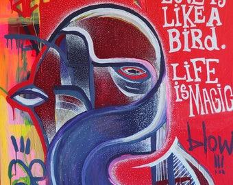 Flash Bird - Art Contemporain, Street Art, Bird, Painting, Colorfull, Love