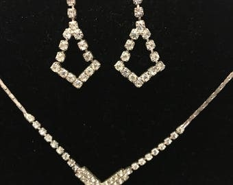 Chevron rhinestone necklace and earring set