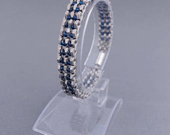 Nuts and blue glass beads - stainless steel with magnetic clasp bracelet