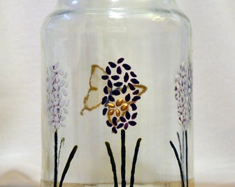 Pink, white and purple hyacinth jar