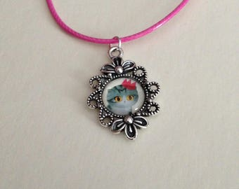 Crown gray tabby cat pendant necklace Pink for adult or child