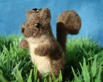 Needle felted brown squirrel plush keychain
