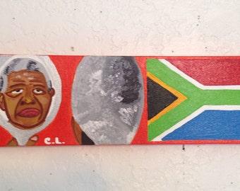 Nelson Mandela, History Icon, South Africa Flag, President, Peace, Civil Rights, Leader, Handmade