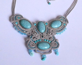 Soutache jewelry necklaces boho jewelry necklace colorful fashion pendant