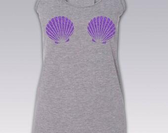 Mermaid Shell Shirt / Mermaid Shell Tank Top / Mermaid Top / Seashell Shirt / Mermaid Shell Bra / Shirt / Mermaid Top / Mermaid / S - 2XL