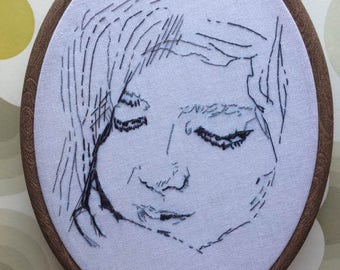 "Custom hand-embroidered sketch portrait, single subject, 7""x 5"""