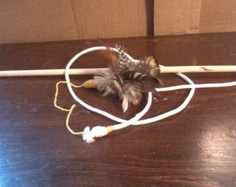 Handmade Cat Toy, Feathered string toy, Natural Feathers