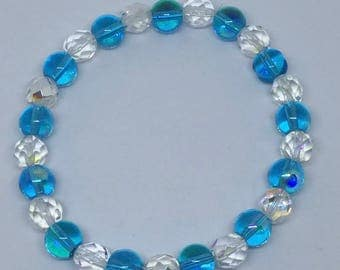 Blue and Clear Glass Bead Bracelet