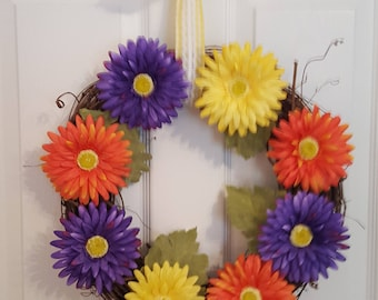 Summer wreath, spring wreath, flowers, floral wreath, Mom, Mother's Day, Cheery