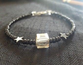 Cube Jewel Hematite Stars beaded bracelet