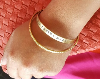 "I am LATINA MADE .25"" Metal Cuff Bracelet - Hand Stamped"